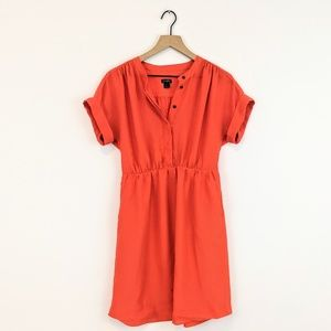 *j crew* orange mini dress cinched waist pockets